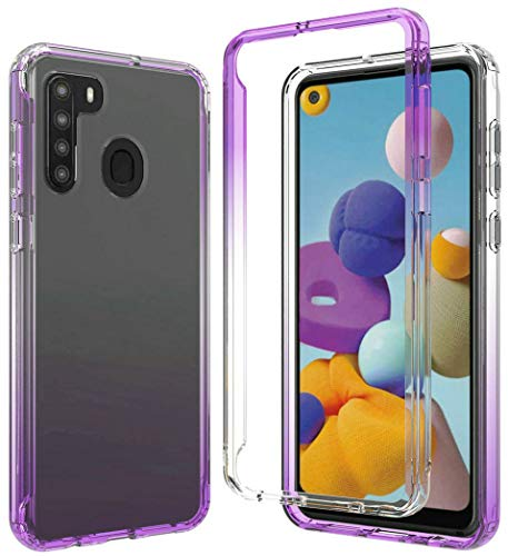 iRunzo 2 in 1 Cover for Samsung Galaxy A21 Case (US CA Edition) Soft TPU + PC Bumper Transparent Color-Changing 360° Full Body Protect (Purple)