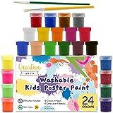 Creative Deco Temperas Pintura Lavable de Dedos Niños Bebes | 24 x 20 ml Botes | No Tóxica | Colores: Básicos Fluorescentes Brillantes Metálicos y Neón Principiantes y Artistas