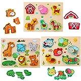 3D Animal Puzzles de Madera para Bebé,Pack de 3 animales de 18 tipos Rompecabezas Habilidad...