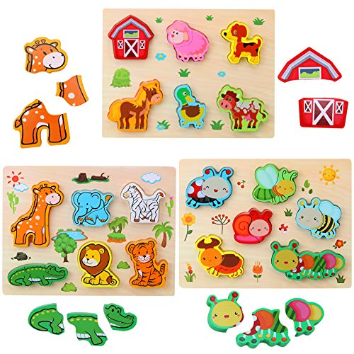3D Animal Puzzles de Madera para Bebé,Pack de 3 Animales de 18 Tipos Rompecabezas Habilidad motora Fina Aprendizaje temprano Juego Educativo Preescolar Montessori Juguetes para 2 3 4 años Niño