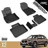 3D MAXpider para BMW X1 / X2 / 2er Active Tourer F48 2016-2020, Aptas para Todas Las Condiciones Climáticas, Alfombrillas de Goma de Coche (Juego de Alfombras, Color Negro)