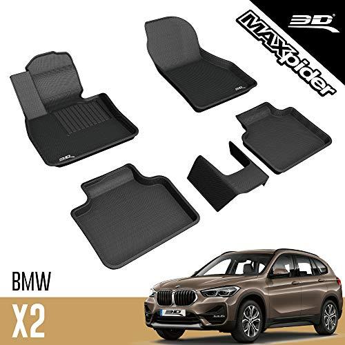 3D MAXpider BMW X1/ X2/Series 2 Active Tourer F48 2016-2021 Tapis de Sol en Caoutchouc pour Voiture Tous Temps Antidérapant Imperméable Recouvrement Total (FWD)