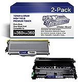 DR-360 Drum(1-PCS)+TN-360 Toner Cartridge (1-PCS) Compatible Replacement forBrother DCP-7030 HL-2150N HL-2150 HL-2140 HL-2125 MFC-7320 MFC-7345N MFC-7440N MFC-7840 MFC-7840W Printers.