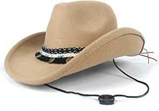 2019 Womens Hats Caps Womens Unisex Wool Western Cowboy Hat for Women with Punk Belt Adult Church Hat with Band Pop Jazz Hat Adult Fedora Hat Size 56-58CM Lady Adjustable Fashion Foldable