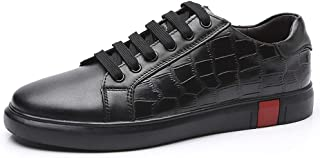 Fashion Sneaker for Men Sports Shoes Lace Up OX Leather Simple Classic Small White Shoes Men's Boots (Color : Black, Size : 5.5 UK)