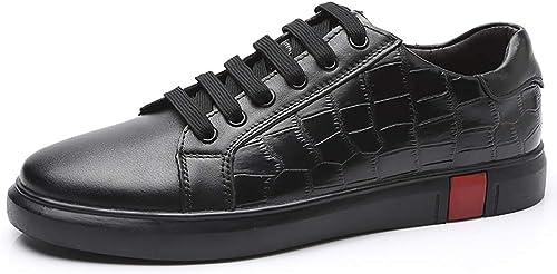 EGS-chaussures paniers paniers paniers for Hommes Chaussures De Sport à Lacets en Cuir Ox Simple Classique Petit Blanc Chaussures Chaussures de Cricket (Couleur   Noir, Taille   46 EU) eb3