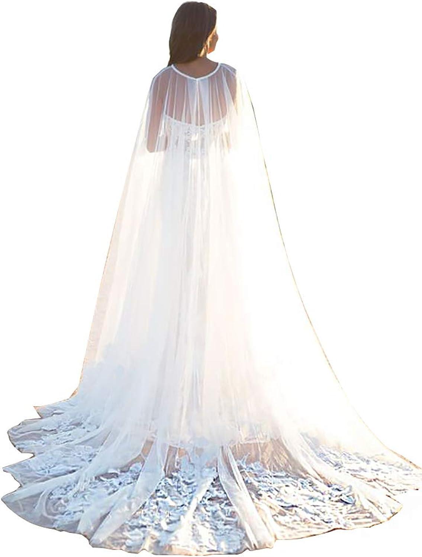 EllieHouse Women's Long Tulle Bridal Cape Wedding Veil Cloak T14