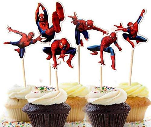 Zahnstocher Flaggen,Käse Marker 24 Stück Spider Man Cupcake Toppers Cupcake Dekoration für Kinder Geburtstag Hochzeiten Baby Duschen Hochzeit Party Supplies Dekor Gefälligkeiten
