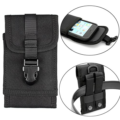 Mopaclle Molle Taktische Handytasche Gürteltasche für iPhone 6S Plus iPhone 7 Plus Samsung Galaxy Note 5 BlackBerry 8300 HTC One Max Sony Xperia Z3 Z5 (Schwarz)