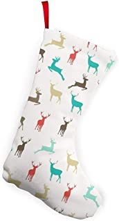 """XCNGG Calcetines navideños Calcetines novedosos Color Christmas Reindeer Christmas Stockings 10"""" for Christmas Party Decorations Kids Gift One Size"""