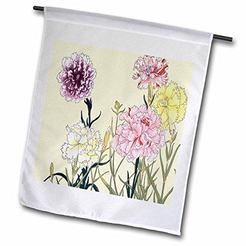 3dRose Nelken in Lavendel, weiß, pink, gelb & rot mit weiß–Garten Flagge, 12durch 45,7cm