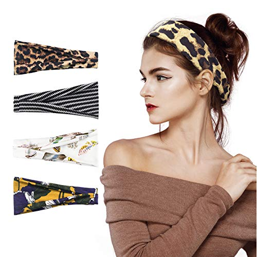 Fashion Headbands for Women, Kuaima Workout Yoga Headband Non Slip Stretchy Cotton Headband Sweat Head Bands for Sports Running Fitness-(4Pcs)