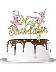Migeaks golden glitter ballerina birthday cake topper cute ballerina party cake decoration supplies