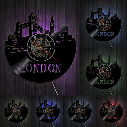 London Cityscape Skyline Wall Art Decor Inglaterra Big Ben Scenery Reloj de Pared Reino Unido Londres Inglaterra City Disco de Vinilo Reloj de Pared