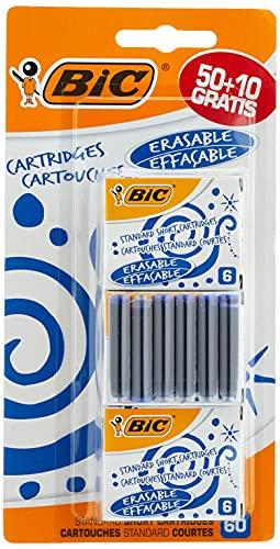 BIC Cartouches d'Encre Courtes Standard pour Stylos-Plume - Bleu Effaçable, Blister de 50+10