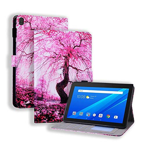 Miagon Slim Case for Lenovo Tab P10 (X705F/X705L)/M10 (X605F) 10.1',Stand Case Cover with Pencil Holder Magnetic/Card Slots PU Leather TPU Bumper Protective Case,Cherry Blossoms
