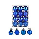 HanYoer Christmas Ball Baubles Assorted Pendant Shatterproof Ball Ornament Set Seasonal Holiday Wedding Party Decorations(24 pcs, 4 cm) (Royal Blue)