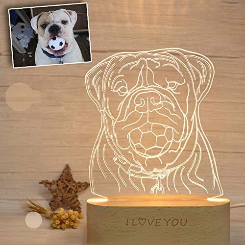 Foto personalizada Lámpara 3D Ilusión óptica Luz nocturna Mascota Lámpara de mesa LED grabada Aniversario de boda Regalos de cumpleaños de Navidad para mujeres Esposa