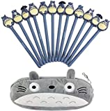 12 Pcs 0.5mm Cute Kawaii Totoro Animal Anime Cartoon Adorable Plastic Black Ballpoint Writing Gel Ink Pens for Office School Gift Stationery Supplies Set with 1 Pack Grey Totoro Plush Pencil Case Bag