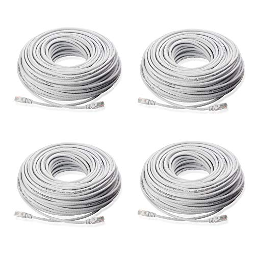 Lknewtrend (4) 60FT Feet CAT5 Cat5e Ethernet Patch Cable - RJ45 Computer Network Internet Wire PoE Switch Cord (4 Pack, 60 FT)