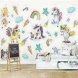 Pegatinas de Pared Unicornio, Comius Sharp Decoración de Pared de Arcoiris Unicornio para Dormitorio Infantiles Habitación Bebés Niñas (2)