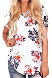 Plus Size Tops for Women Flower Print Short Sleeve Summer Tshirt Blouses XL
