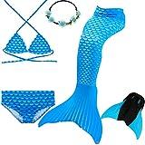 UniDesign Coda di Sirena Costume da Bagno Intero con Bikini e Monopinna per Le Ragazze Mascherare Travestimento da Sirenetta (11-12 Anni, Diamante Blu)