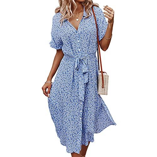 KeYIlowys Robe imprimée pour Femmes Style de Vacances décontracté Printemps et été Sexy Grande Jupe balançoire Taille Jupe Longue imprimée