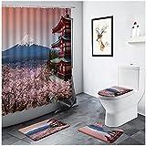 XXzhang Duschvorhang Cherry Blossom Mount Fuji Landschaft Duschvorhang Blume Baum Rot Gebäude Wohnkultur Badezimmer-180x180cm