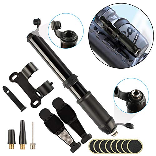 Maoyea Mini Bike Pump Portable & Bike Tire Repair Tool Kit - 120Psi Fits Presta and Schrader - Best Quality & Performance,Multi-Functional Valve for Mountain and BMX Bike Tires,Basketball