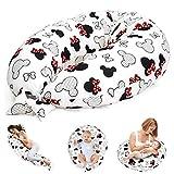 Coussin d'allaitement, coussin de grossesse, coussin de positionnement latéral, coussin de positionnement pour bébé XXL, prégnancy Pillow certifié Öko-Tex blanc avec Mouse