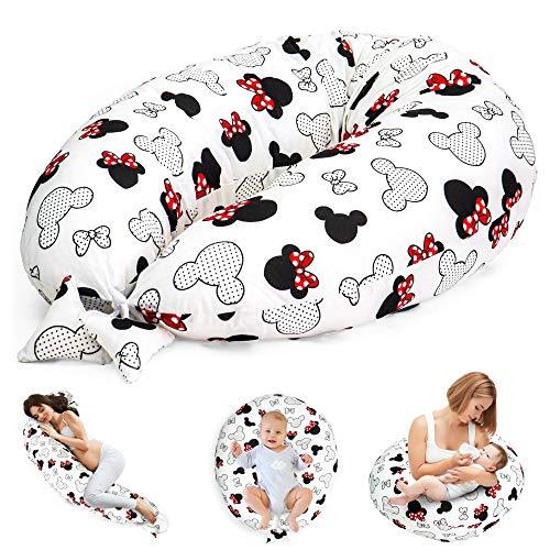 Cuscino Gravidanza per Dormire e Allattamento Neonato - cuscino premaman e Riduttore Lettino XXL Oeko-Tex (Bianco Con Topolino)