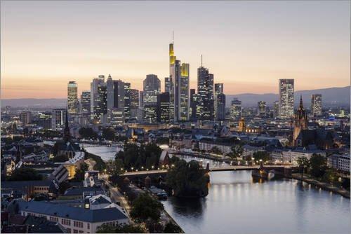Posterlounge Acrylglasbild 30 x 20 cm: Frankfurt Skyline von Frankfurt am Main Sehenswert - Wandbild, Acryl Glasbild, Druck auf Acryl Glas Bild