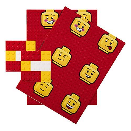 Hallmark - Papel de regalo y etiquetas para cualquier ocasión, diseño de Lego, 2 hojas (cumpleaños, Navidad, día del padre)