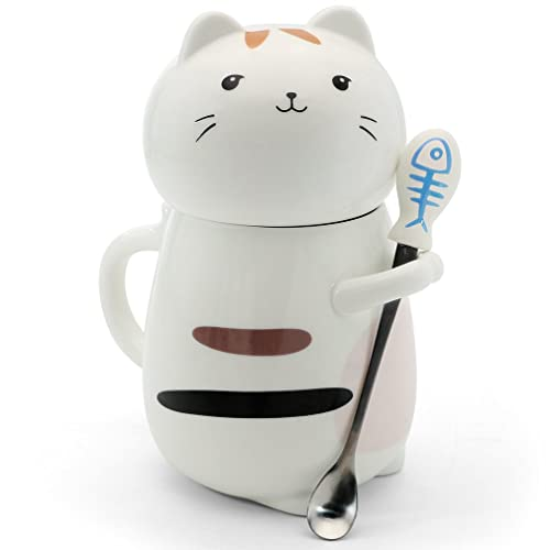 Asmwo Cute 3D Cat Mug Funny Ceramic Coffee Tea With Stirring Spoon And Lid Novelty
