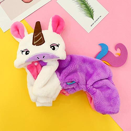 Navidad Mascotas Ropa Disfraz De Invierno Cálido para Mascotas para Perros Pequeños con Forma De Aniamls, Abrigo para Cachorros Y Gatos, Ropa Maltés, Unicornio, XL