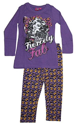Monster High Pyjama 2014 Kollektion 122 128 134 140 146 152 158 164 Schlafanzug Lang Mädchen Nachtwäsche L5 Lila Clawdeen Wolf (122 - 128)