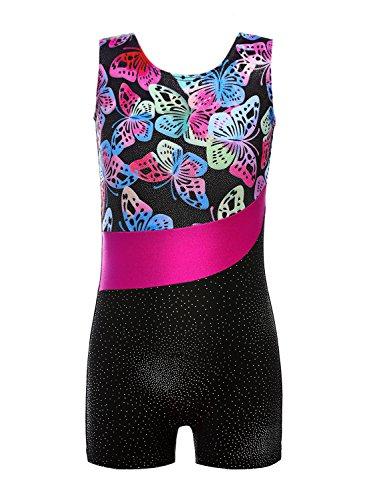 DAXIANG Mädchen Leuchtender Bunter Bedruckter Ärmelloser Tank Gymnastikanzug für Gymnastik Tanzen Ballett Costume (Butterfly, 140(8-9Y))
