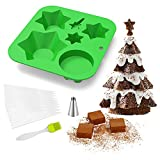 Silicone Baking Molds for Making Hot Chocolate , Cookie, Cake, bread, Jelly, Pudding, Non Stick Tree Shape Multi Layered Biscuit Chocolate Mold, BPA Free Cupcake Baking Pan