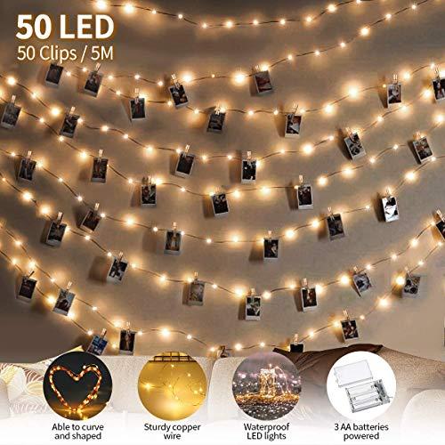 king do way LED Fotoclips Lichterkette für Zimmer Deko, 5M LED Foto Clip Lichterkette, 3 Modi Warmweiß Lichterkette mit 50 Einstellbare klammern & 5 Nägeln, für Weihnachten, Hochzeit, Party