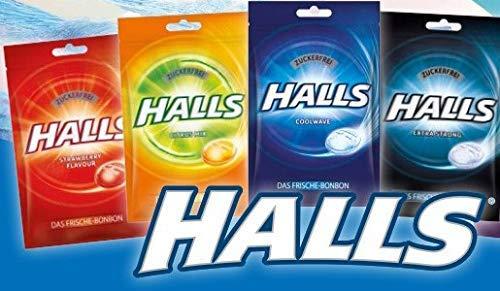 Probierpaket | 4 x Halls Original Frische Bonbons zuckerfrei 65 g / Frischebonbon, Extra Strong, Strawberry, Citrus, Cool Wave, 4x65g