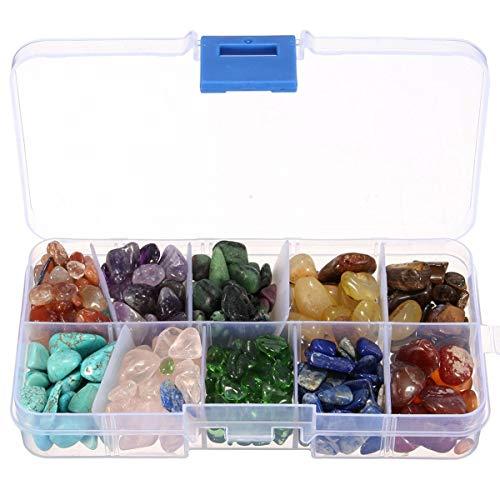 WILBUR Saludable Establecidas de 10 Tipos de Piedra Chakras Cura de Cristal de Cuarzo Tumbled Forma Natural Piedras de Cristal Minerales Irregular Decorativo con la Caja