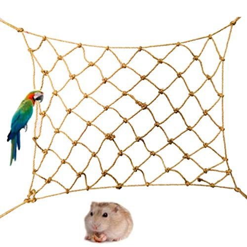 HunterBee Red de escalada para pájaros, cuerda de cáñamo, hamaca para mascotas, escalera, 2 unidades pequeñas