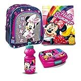 Minnie Maus Mickey Mouse Disney Kindergarten Rucksack Set 4 Teile Brotdose...