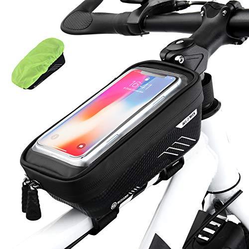 VBIGER Fahrrad Rahmentasche wasserdichte TPU Touchscreen Fahrradtasche Fahrrad Handyhalterung mit Regenschutz für Smartphone bis 6,5 Zoll (schwarz)