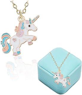 BigNoseDeer Collana per Bambini Unicorno Ragazze Rainbow Cloud Gioielli Regalo di Unicorno per Teenager Bambini Natale Rin...