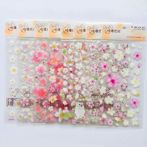 1 Sheet Cute Romantic Flowers Daisy Sakura Crystal DIY Stickers Decorative Scrapbooking Diary Album Stick Label Student Supply