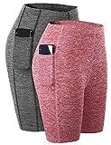 Aibrou 2 Piezas/Set Mujer Shorts Deportivos de Secado rápido Señoras Verano Pantalones Cortos para Gimnasio Entrenamiento Yoga Ropa Deportiva (2# Vino Rojo + Gris Oscuro M)