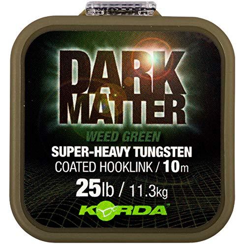 Korda Dark Matter Tungsten Coated Braid 10m - Vorfachschnur, Tragkraft:25lbs/11.3kg, Farbe:Weed (Grün)