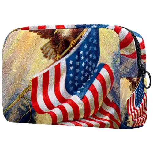 Bolsa de cosméticos Bolsa de Maquillaje para Mujer para Viajar Llevar cosméticos Cambiar Llaves, etc.,celebrando la Vieja Gloria de Nuestra Bandera Americana ilustración Vintage de Aves